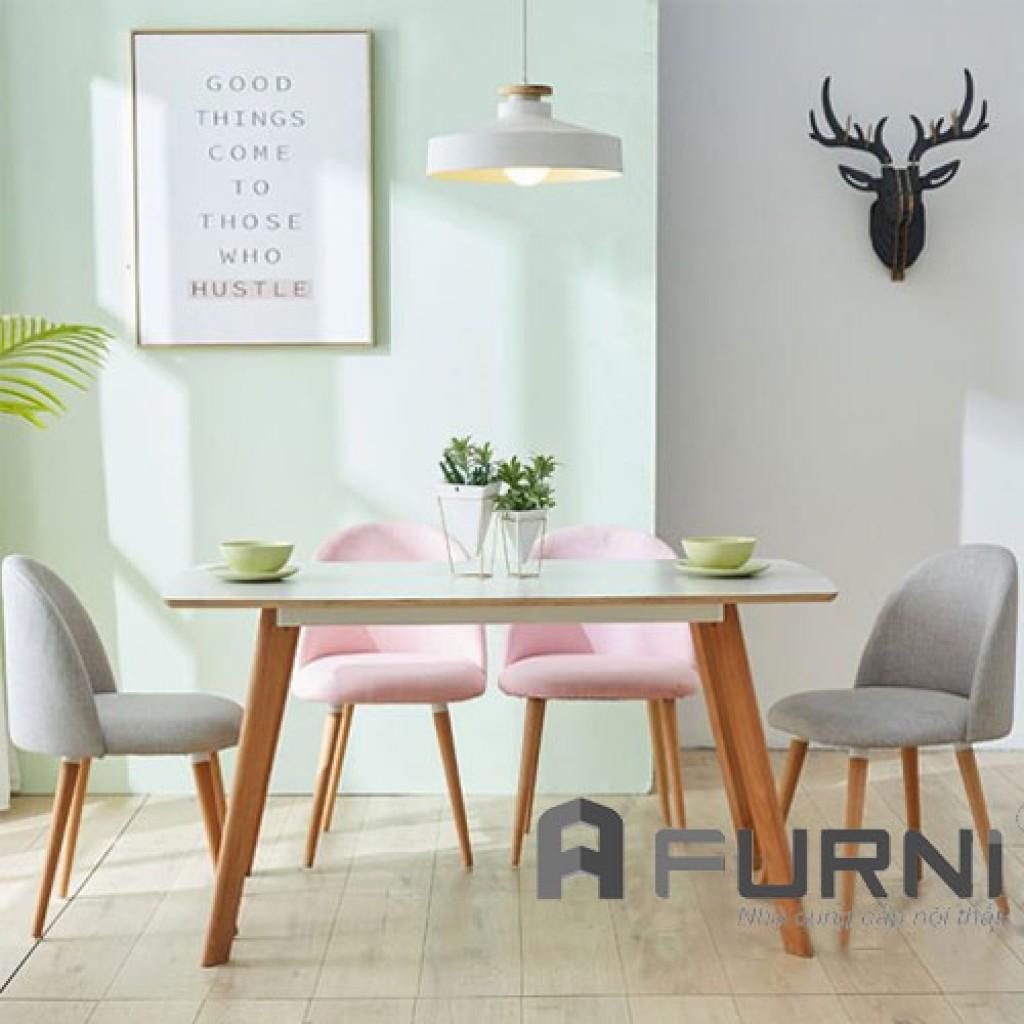 Bộ bàn ăn dài 4 ghế vải