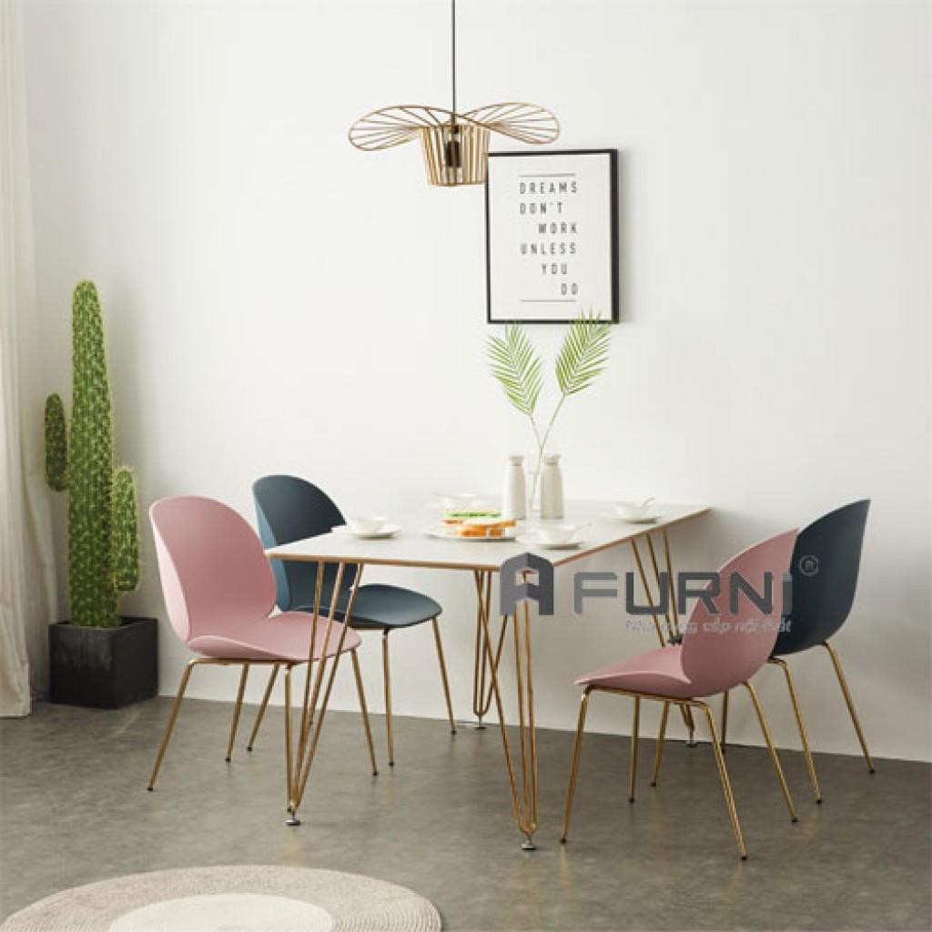 Bộ bàn ghế chân thép mạ gold
